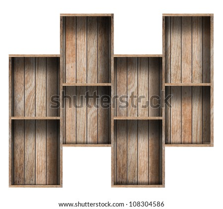 Wooden Shelf Background, isolated on white - stock photo