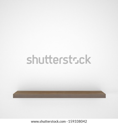 Wooden shelf. 3d rendering of a gray background