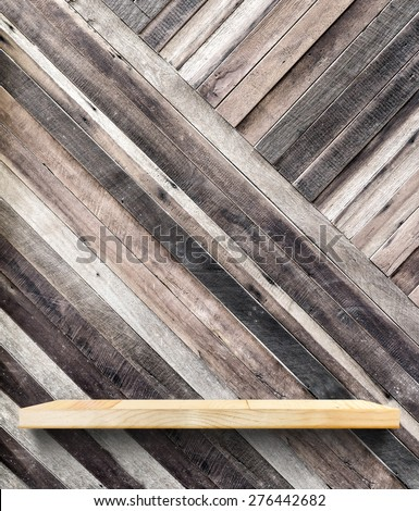 wooden shelf on tropical diagonal wood wall,Template mock up for display of product,Business presentation - stock photo