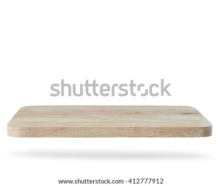 wooden shelf wall isolated on white background, For present your products. - stock photo