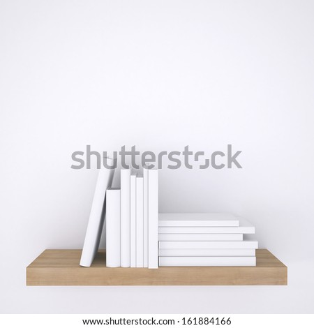 Wooden shelf with books on white wall background. 3d render - stock photo