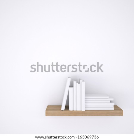 Wooden shelf with books on white wall background. 3d render