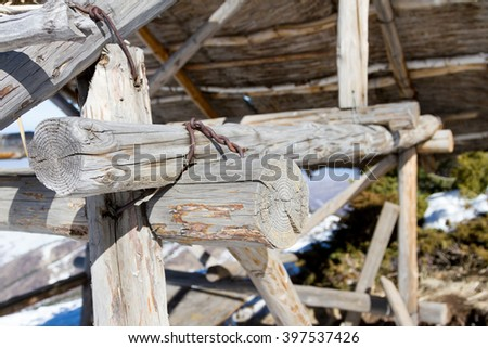 wooden shelter Thatched Cottage in the mountains of Trans-Ili Alatau