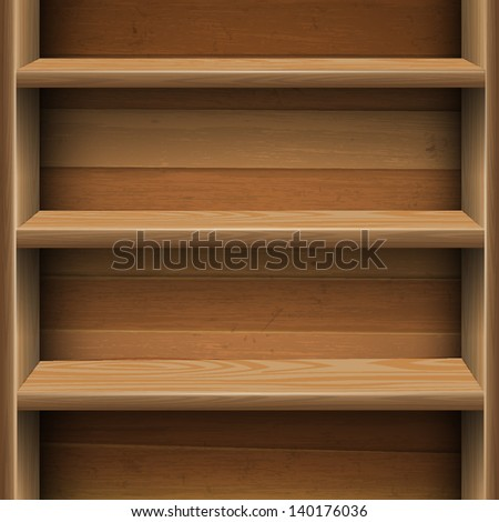 Wooden shelves background.  Raster version