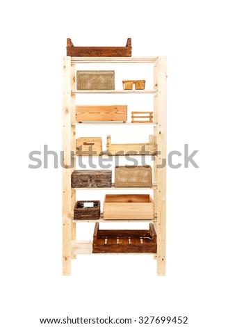 Wooden shelves full of crate - stock photo
