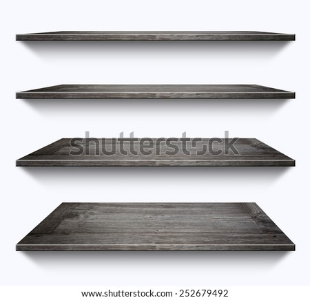 Wooden shelves isolated on white background - stock photo
