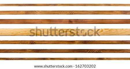 Wooden shelves isolated on white. Board collection - stock photo