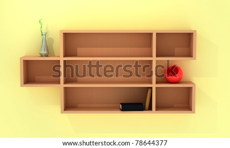 Wooden shelves with books, red and curve vases - stock photo