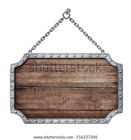wooden shield or road sign hanging on chains isolated on white - stock photo