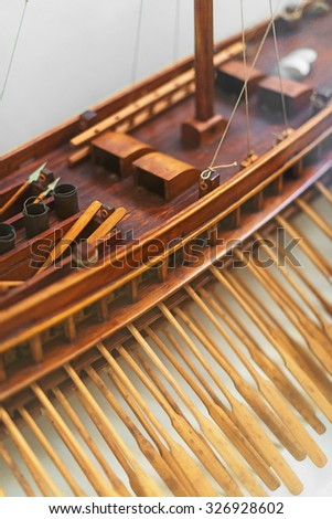 Wooden ship model in the maritime museum. - stock photo