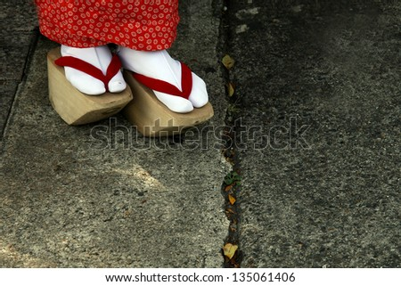 Wooden Shoes of Japanese Geisha - stock photo