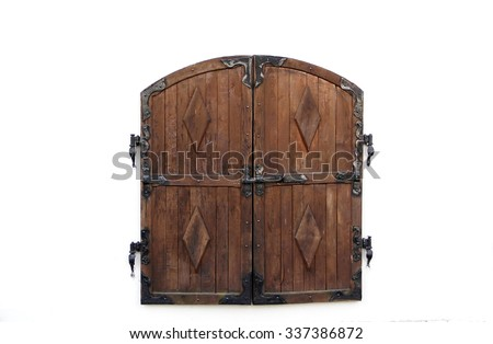 Wooden shutters with forged curtain - stock photo
