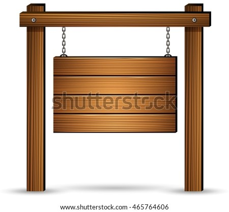 Wooden sign board hanging with chains