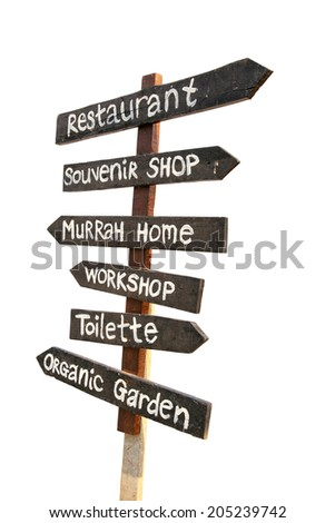 Wooden sign farm style isolated on white - stock photo