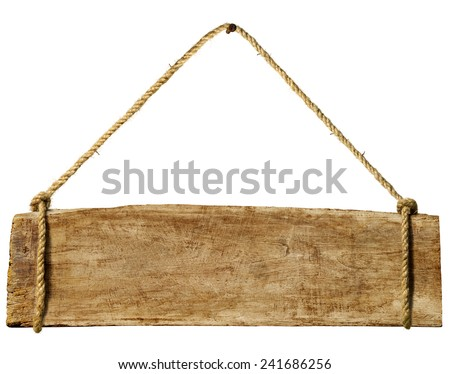 Wooden sign hanging from a rusty nail. - stock photo