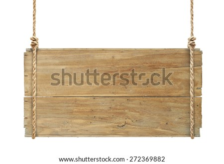 wooden sign hanging on a rope isolated