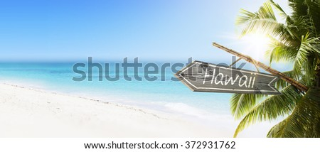 Wooden sign Hawaii on tropical white sand beach summer background. Lush tropical foliage and sunshine. Blue ocean at perfect day. No people. - stock photo