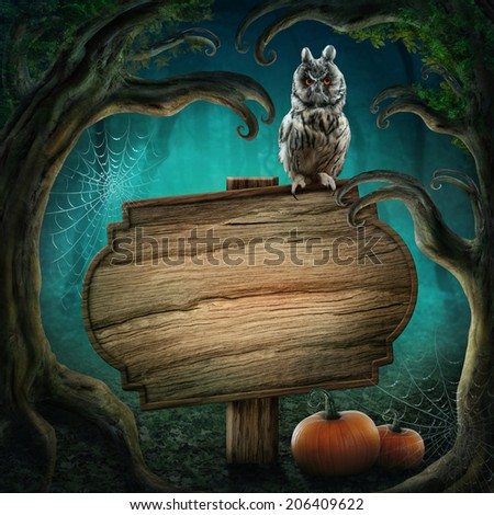 Wooden sign in the halloween magic dark forest - stock photo
