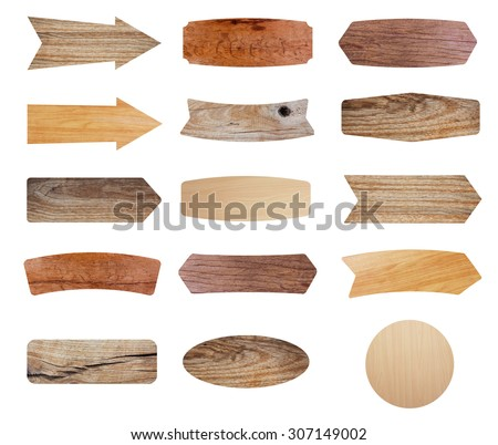Wooden sign isolated on white background, Objects with clipping paths for design work - stock photo