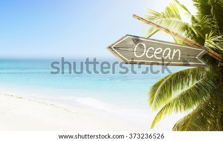 Wooden sign Ocean on tropical white sand beach summer background. Lush tropical foliage and sunshine. Blue ocean at perfect day. No people.  - stock photo