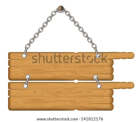 wooden sign on the chains. Rasterized illustration. Vector version in my portfolio - stock photo