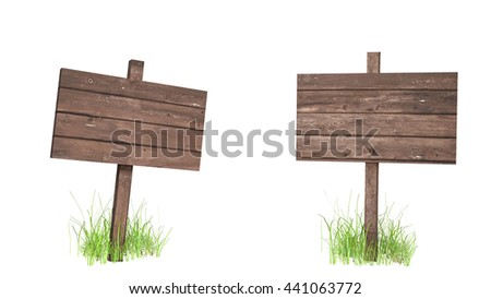 Wooden Sign Post - Isolated A set of two rough wooden sign posts with grass around the base. Isolated on white for easier use. 3d render