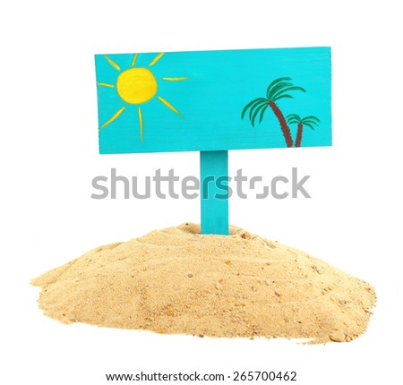 Wooden sign standing in sand isolated on white - stock photo