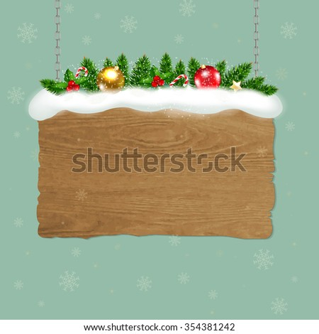 Wooden Sign With Fir Tree - stock photo