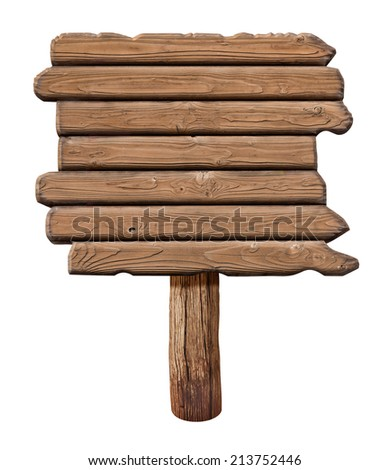 Wooden signboard. Old road sign made from wood. - stock photo