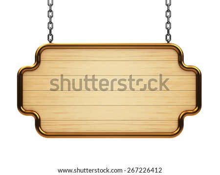 Wooden signboard on chain isolated on white background, three-dimensional rendering - stock photo