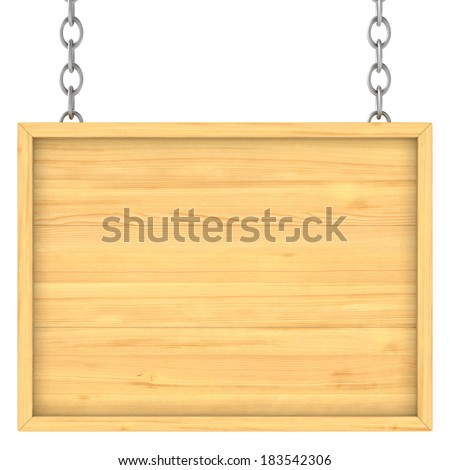 wooden signboard on the chains. Isolated 3D image - stock photo