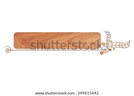Wooden signboard, web elements, banners and label