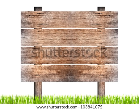 wooden signboard with green grass isolated