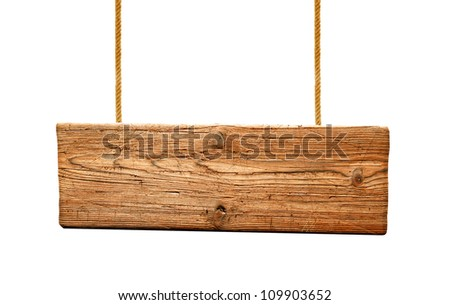 Wooden signpost hanged with ropes