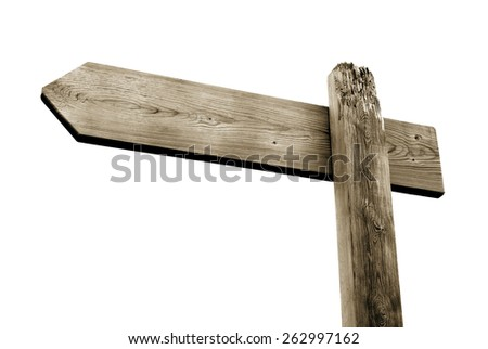 wooden signpost isolated