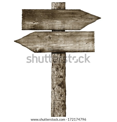 wooden signpost  isolated on a white background - stock photo