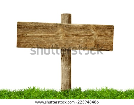 Wooden signpost on green grass on white