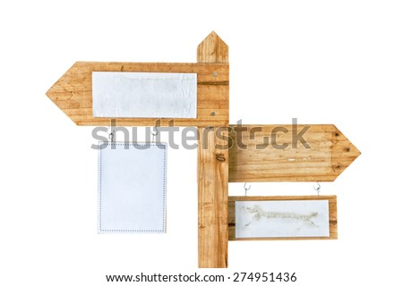 Wooden signpost with empty copy space isolated on white background - stock photo