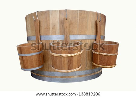 Wooden sink and tank for bath room isolated on white background - stock photo