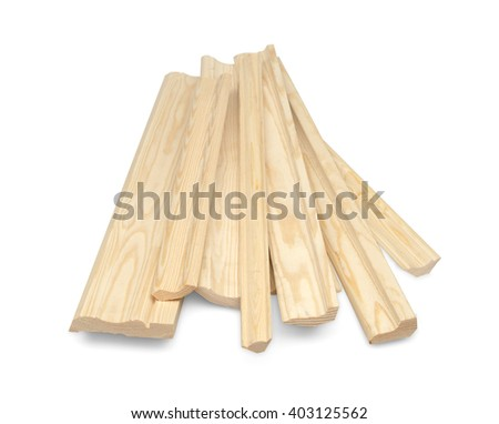 Wooden skirting boards isolated over white with clipping path.