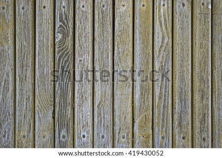 Wooden slats fastened with screws - stock photo