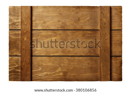 wooden slats signboard isolated