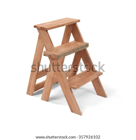 Wooden small home ladder isolated on white with clipping path