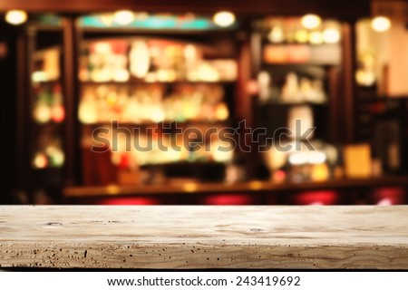 wooden space and bar of free place  - stock photo