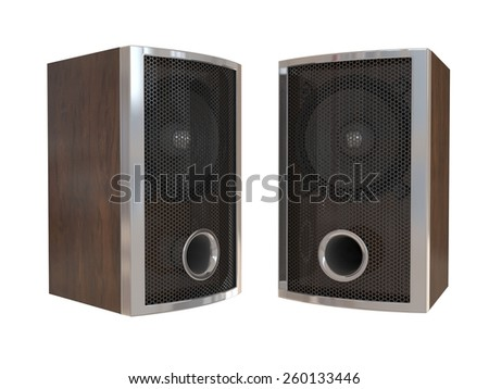 Wooden speakers isolated on white - stock photo