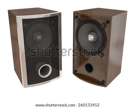 Wooden speakers isolated on white