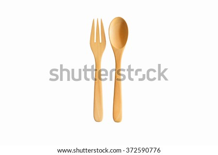 Wooden spoon and fork. Clipping path - stock photo