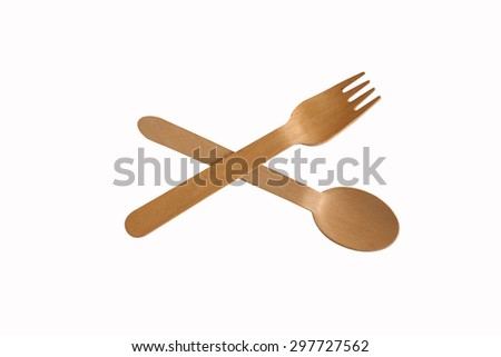 Wooden spoon and fork Isolated on a white background - stock photo