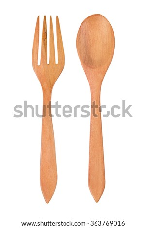 Wooden spoon and fork isolated on white. Clipping path. - stock photo