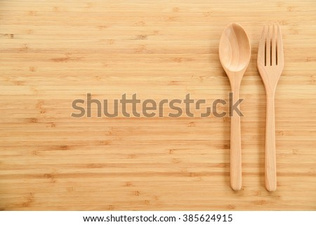 Wooden Spoon Fork On Wood Texture Stock Photo 385624915 Shutterstock